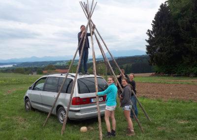 Die Stangen fürs Zelt | SoLaWi Chiemgau